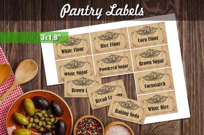 Printable Pantry Labels - Vintage