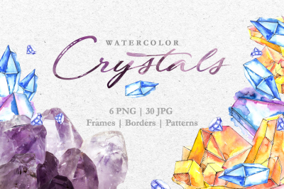 Crystals Blue-yellow Watercolor png