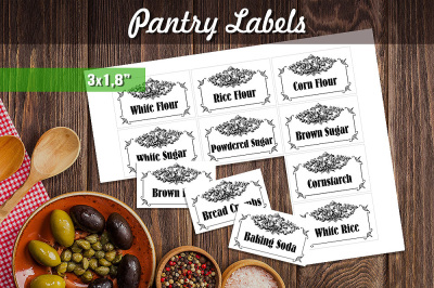 Black & White Printable Pantry Labels - Vintage