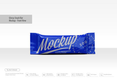 Download Glossy Snack Bag With Candies Mockup Front View Yellowimages