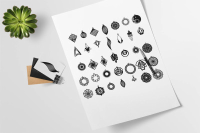 Bundle of 35 Leather or Wood Earrings-SVG, DXF, EPS