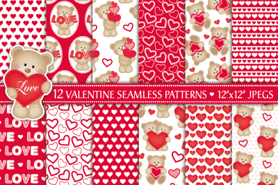 Valentine digital paper, Valentine patterns, Valentine's Day