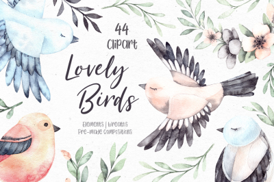 Lovely Birds. Watercolor set