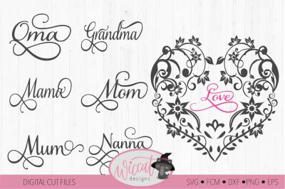 Flower heart svg, mothers day, valentine's day