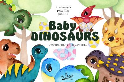 Watercolor Baby Dinosaur Clipart