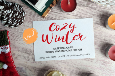 Cozy Winter - greeting card photo mockups - v.2