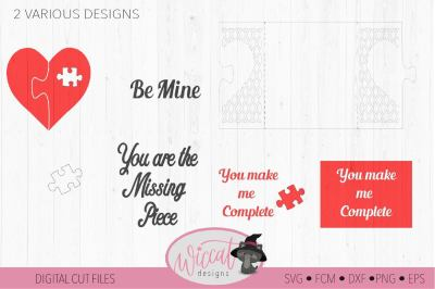Valentine puzzle card svg, template svg, Heart card svg