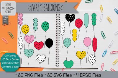 80 Party Balloons Hand drawn Clip Art | Vector Birthday illustration