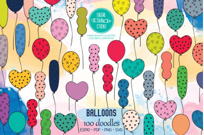 Colored Party Balloons   Hand drawn Birthday Doodles
