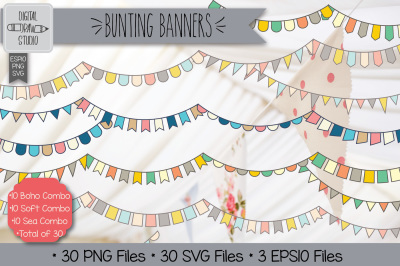 30 Colorful Bunting Banners Clip art | Hand Drawn Triangular Garland
