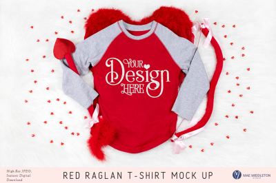 Red raglan / baseball t-shirt mock up