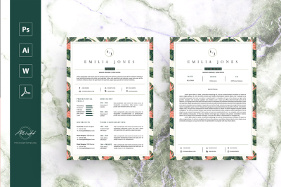 Leaf Floral Resume Template / Coverletter Template