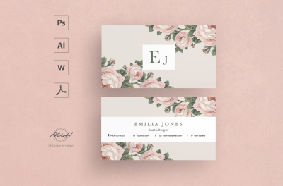 Roses Card Template / Business Card / Calling Card / Name Card