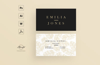 Leaf Pattern Card Template / Business Card / Calling Card / Name Card