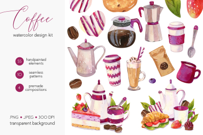 Coffee Design Set - Watercolor Illustrations