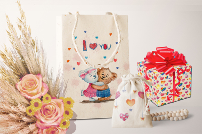 LOVELY BEARS AND HEARTS. Watercolor set for Valentine's Day