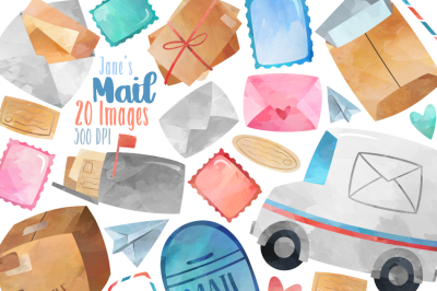 Watercolor Postage Clipart