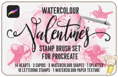Watercolour Valentines Stamp Brush Set for Procreate
