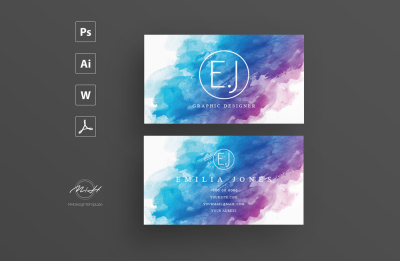 Wattercolor Card Template / Business Card / Calling Card / Name Card