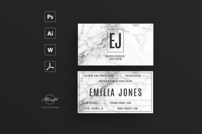 White Marble Card Template / Business Card / Calling Card / Name Card