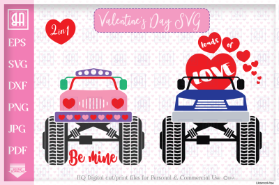 Valentine's truck svg - Valentine's day Truck bundle mini