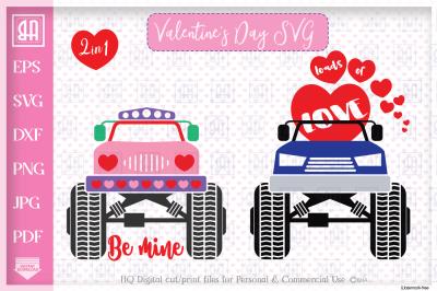 Valentine's truck svg - Valentine's day Truck bundle mini