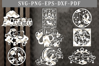 Nursery Bundle Papercut Template Bundle, Newborn Clipart SVG, DXF, PDF