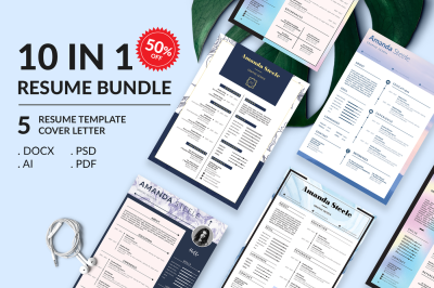 Sale 50%!! 10 IN 1 Simple Resume BUNDLE Template N