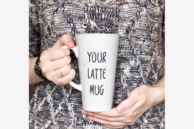 Latte Mug Photo Mock-up. PSD + JPEG