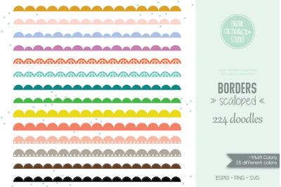 Scalloped Border Colored Clip art | Lace | Divider | Illustrator brush
