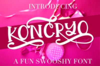 Koncryo - A Fun Swoosh Font