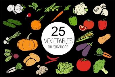 Vegetables 25 types of garden plants
