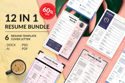 Sale 60%!! 12 IN 1 Simple Resume BUNDLE Template N