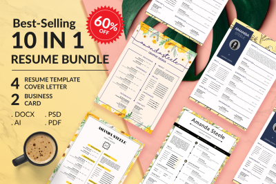 Sale 60%!! 10 IN 1 Floral Resume BUNDLE Template N