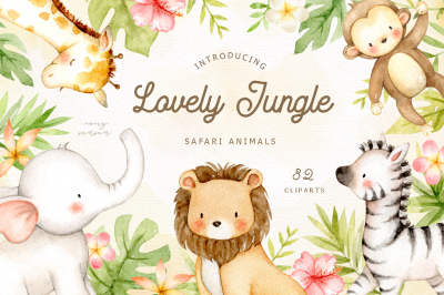 Lovely Jungle Safari Animals Clipart