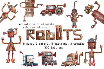 Robots - Watercolor Clip Art Set