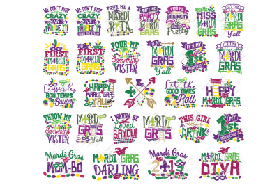 Mardi Gras Quotes SVG Bundle in SVG, DXF, PNG, EPS, JPG