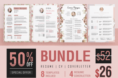 Pink Floral Resume CoverLetter Bundle Template M