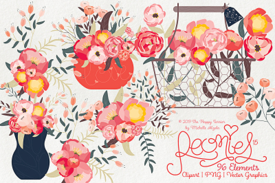 Peonies 015 - Clipart, PNG & Vector Graphics