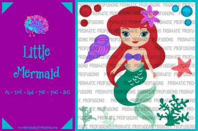 Little Mermaid SVG, Little Mermaid Clipart