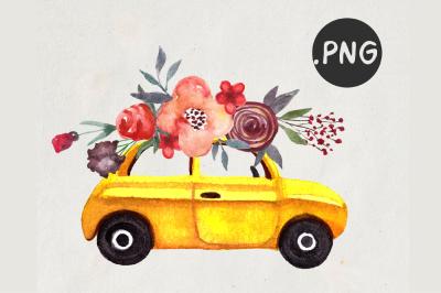Watercolor Retro Car Clipart
