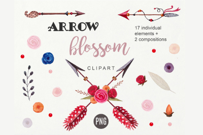 Arrow Clipart Boho Tribal PNG Floral