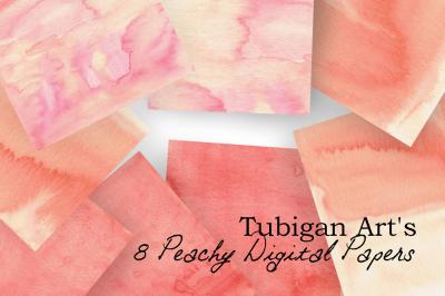 Peachy Watercolor Digital Paper / Textures