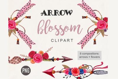 Arrow Clipart Boho Watercolor Tribal