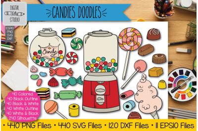 440 Hand Drawn Candies Doodles Clip art | Vintage Sweets