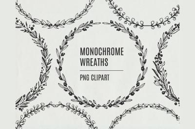 Black White Wreath Clipart