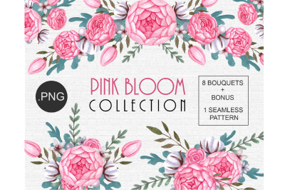Watercolor floral Clipart Pink Peony