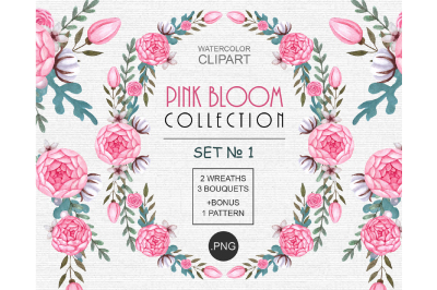 Watercolor Pink Flowers Clipart png
