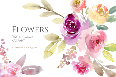 Watercolor Flowers and Bouquets Pink Purple Yellow PNG