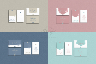 Bundle of 8 Wattercolor Bussiness Card Template / Calling Card